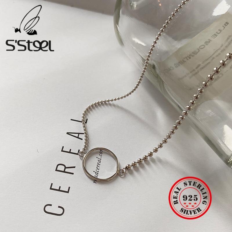 S'STEEL 925 Sterling Silber Halskette Für Frauen Geschenk Anhänger Geometrie Hohl Runde Bijoux Femme 2019 Sieraden Silber 925 Schmuck
