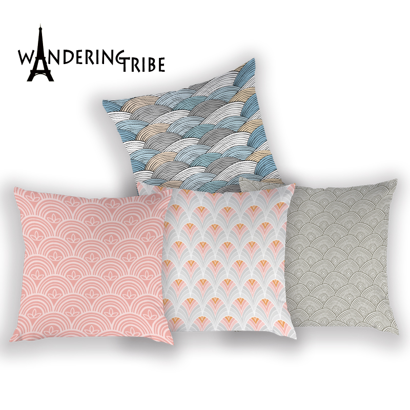 Geometric Cushions Cover Retro Stripe Decorative Throw Pillow Case Cushion Covers Farmhouse Living Room Polyester Pillow Cases