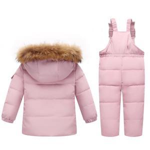 Image 4 - Olekid 30度ロシア冬子供服セットダウンジャケットコート + オーバーオールのための1 5年女の子防寒着