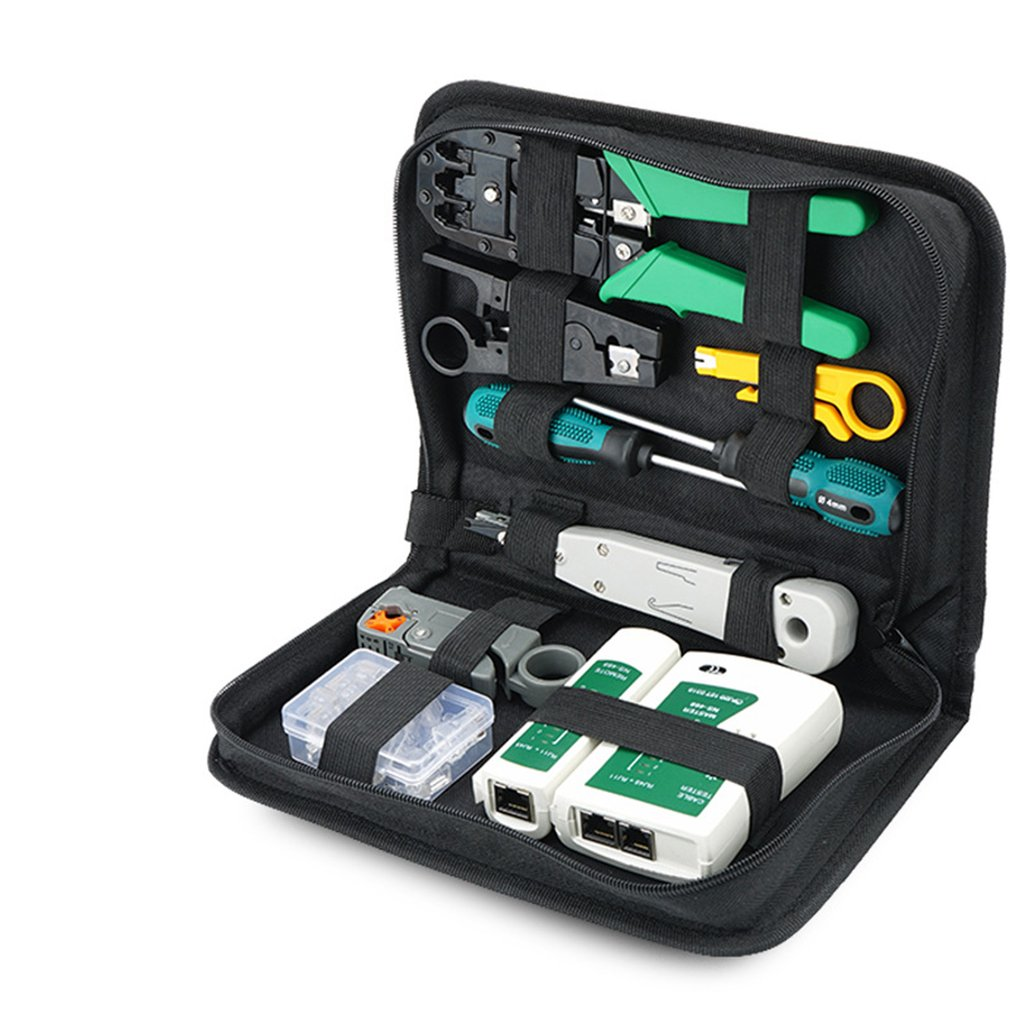 Computer Network Repair Tool Kit LAN Cable Tester Wire Cutter Screwdriver Pliers Crimping Maintenance Tool Set Bag