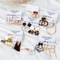 Новые модные круглые Висячие корейские серьги для женщин, геометрические круглые золотые серьги в форме сердца, набор свадебных украшений ...