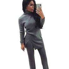 Taovk Herfst Winter Vrouwen Breien Suits Coltrui Trui Elastische Taille Broek Twee Delige Set