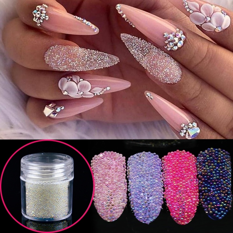 7 Color Crystal AB Micro Beads Rhinestones Nail Beads Glass Caviar Beads All For Nails Design 3D Nail Art Decorations