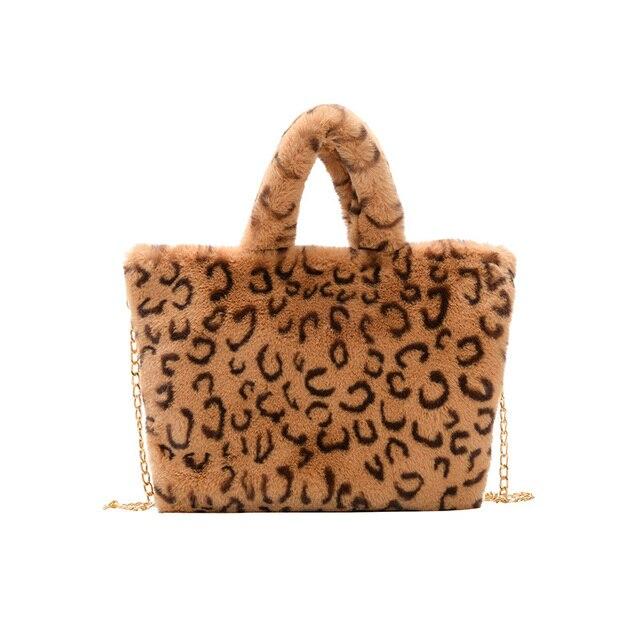 Winter new fashion shoulder bag female leopard female bag chain large plush winter handbag Messenger bag soft warm fur bag 6
