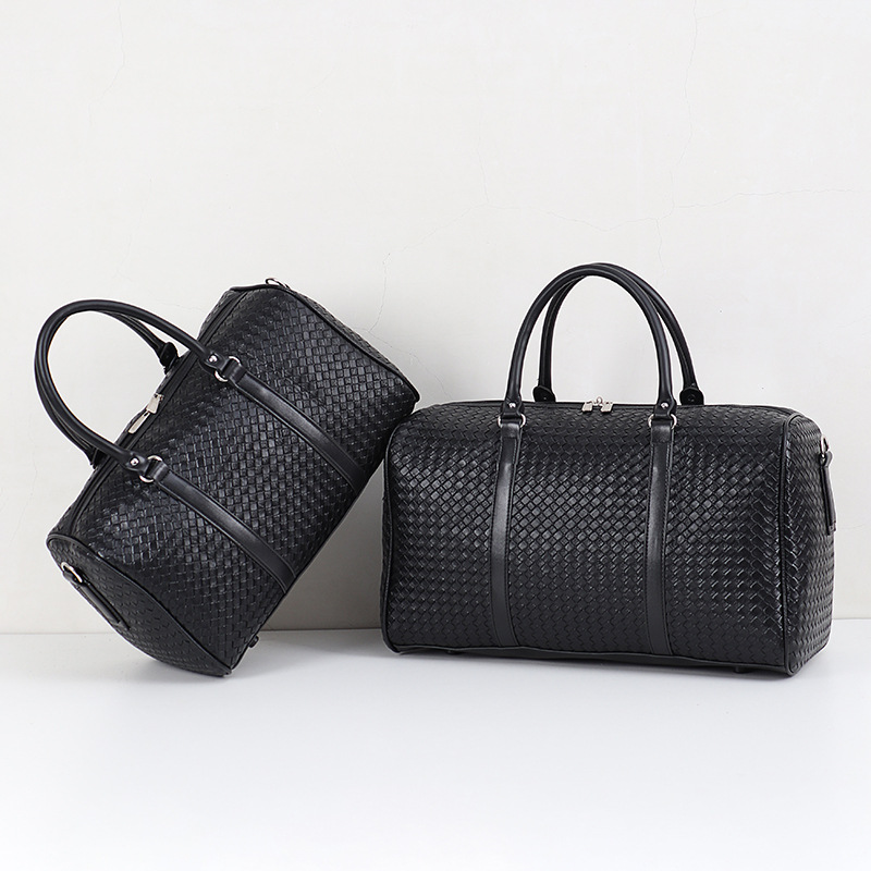 New Style Woven Hand Travel Bag Large Capacity Men's And Women's Shoulder Bag Travel Bag Black Business Chu Cha Bao