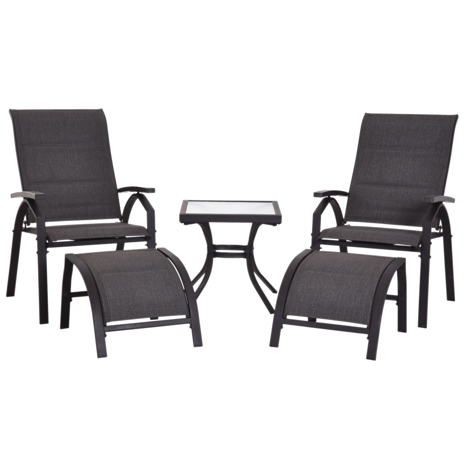 Outsunny Set Beach Chairs 5 Pieces 2 Adjustable Footrest And Coffee Table 2 Chairs Garden Metal And Textilene Black