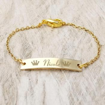 Personalized Baby Name Bracelet With Crown Baby ID Bracelet Gold Jewelry Baby Girl Jewelry Baptism Gift Bar Bracelet For Kids colorful gold bracelets baby kids jewelry baptism kinder armband bijoux enfants pulseira bebe bracciali bambini gift child b0929