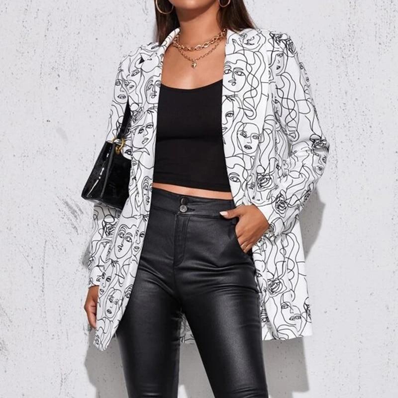 Hf9a12e6b826144cf8c5c0d2be102b0b3q Fashion Trend Women Lapel Leopard Print Long Sleeves Suit Jacket Elegant Fall Winter Office Lady Cardigan Coat Casual Streetwear