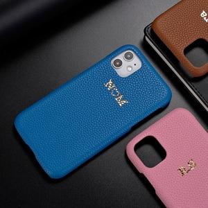 Image 2 - Custom פבל גרגרים עור אמיתי יוקרה זהב ראשוני שם טלפון Case כיסוי עבור iPhone 12 11 פרו מקסימום X XS XR מקסימום 8 7 בתוספת 8 בתוספת