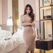 Корейское цельнокроеное офисное женское платье 2020 новое осенне