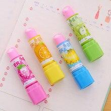 4pcs/lot Cute Fruit Lipstick Style Rubber Erasers For Girls Novelty Pencil Eraser Kids Gift Kawaii Stationery School Supplies
