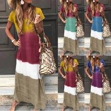 Длинное платье в стиле пэчворк женское свободное Повседневное
