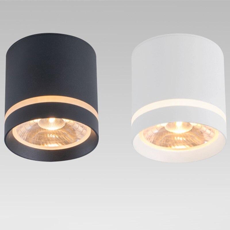 Dim silindir LED downlight 7W 10W 12W COB LED tavan Spot ışıkları AC85 ~ 265V LED arka plan lambaları iç mekan aydınlatması