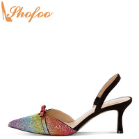 Rainbow Crystal High Kitten Heels Stilettos Sandals Woman Pointed Toe Elastic Big Size 11 15 Lady Fashion Bow Knot Party Shofoo