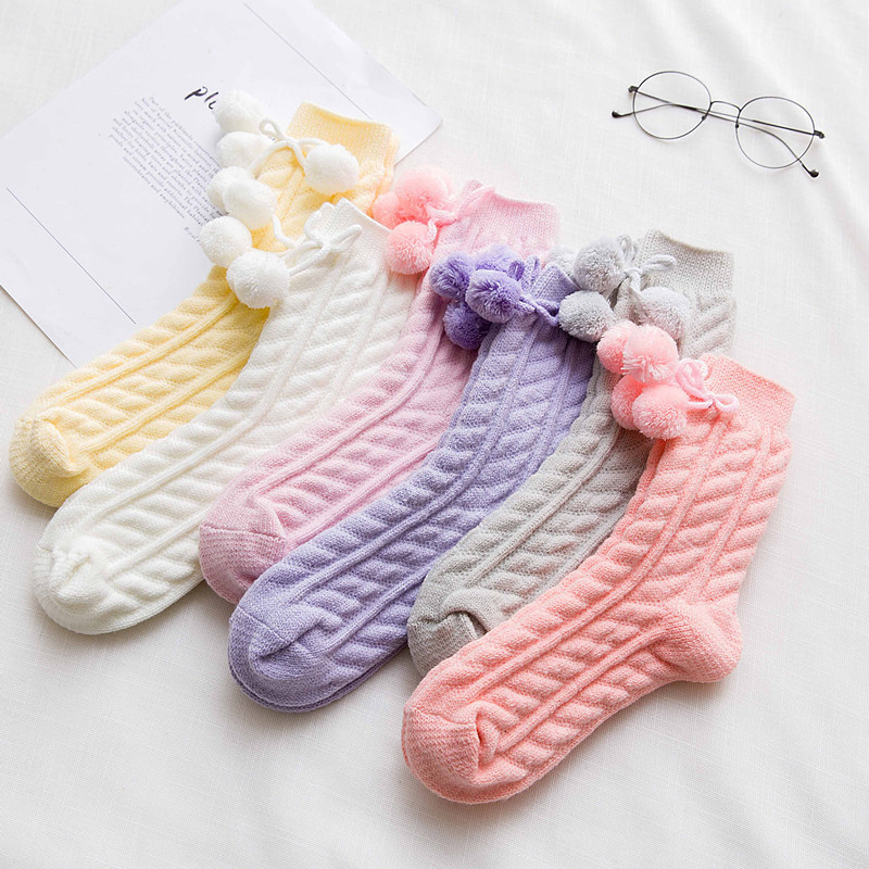 SP&CITY Janpan Style Cute Boll Women Winter Wool Warm Socks Thick Solid Lolita Lovely Ankle Cotton Socks For Girls Student Sox