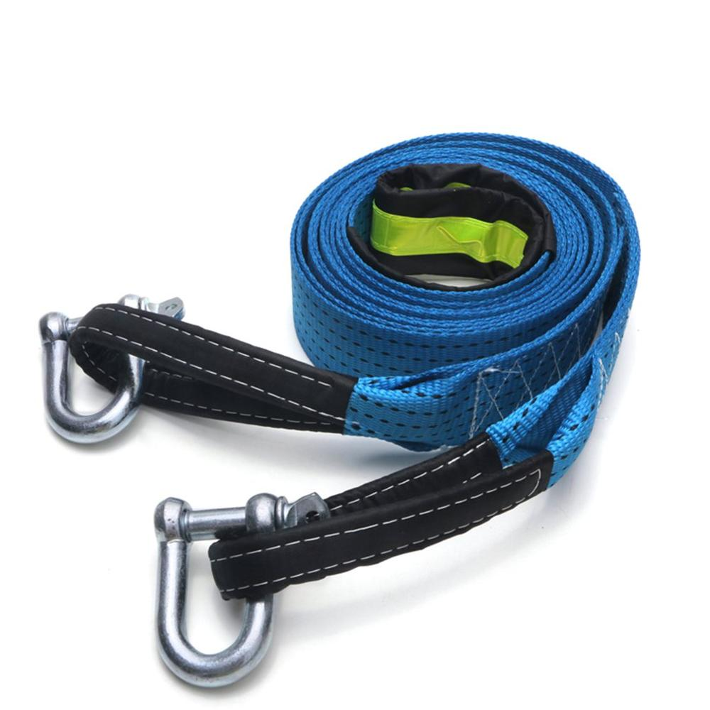 Universal Random Color Double-layer Car Tow Rope 5 Meter 8 Tons Luminous Trailer With Grab Hook U-shaped Hook Pull Rope