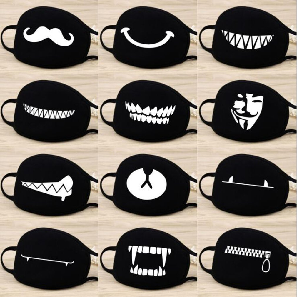 Cotton Dust Mask Cartoon Expression Teeth Muffle Chanyeol Face Respirator Anti Kpop Bear Mouth Mask 1Pcs