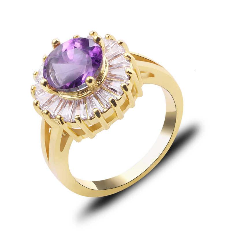 Anel de dedo de luxo feminino engrenagem redonda moda rosa zircon pedra anel branco ouro enchido jóias promessa anéis de noivado para mulher