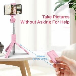 Image 5 - 새로운 무선 블루투스 Selfie 스틱 삼각대 LED 링 라이트 Foldable 핸드 헬드 Monopod 셔터 원격 삼각대 아이폰 11 화웨이