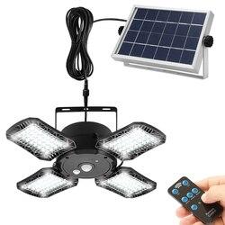 Remote Solar Pendant Light Outdoor Indoor Motion Sensor 128 LED/1000LM IP65 Waterproof Solar Shed Light for Garage Garden Porch