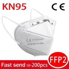 5-100 sztuk maski biała tarcza maska grypa maseczki do twarzy FPP2 filtr ochrona mascarilla FFP2 KN95 maska PM2 5 maska przeciwpyłowa masque tanie tanio 360° F H Chin kontynentalnych Osobiste Jednorazowego użytku Dla dorosłych Non woven GB2626-2006