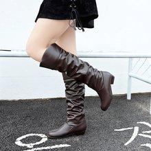 קלאסיקות אופנה סתיו חורף הברך גבוהה מגפי נשים בוהן עגול Med סתיו מגפי העקב מרובע מוצק גדול גודל נעליים