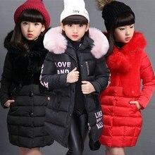 Теплое зимнее пальто для девочек модная длинная Детская куртка с капюшоном из искусственного меха, пальто для девочек, верхняя одежда для девочек от 4 до 12 лет