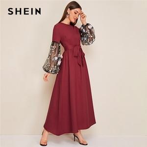 Image 5 - SHEIN Flower Applique Mesh Lantern Sleeve Belted Women Dress Round Neck Long Sleeve Maxi Dress High Waist Elegant Dress