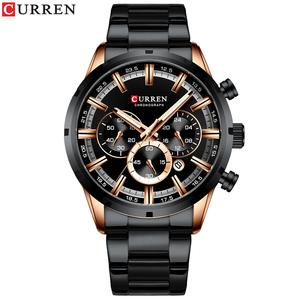 Image 2 - Luxus Marke CURREN Sportliche Uhr Herren Quarz Chronograph Armbanduhren mit Leucht hände 8355 Mode Edelstahl Uhr