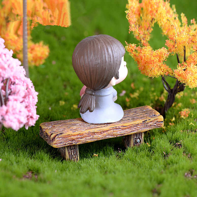 1 Pcs Panjang Kayu Bangku Patung Miniatur Taman Peri Aksesoris Dekorasi Rumah Boneka Kartun Hewan Model Plastik Gadis Mainan