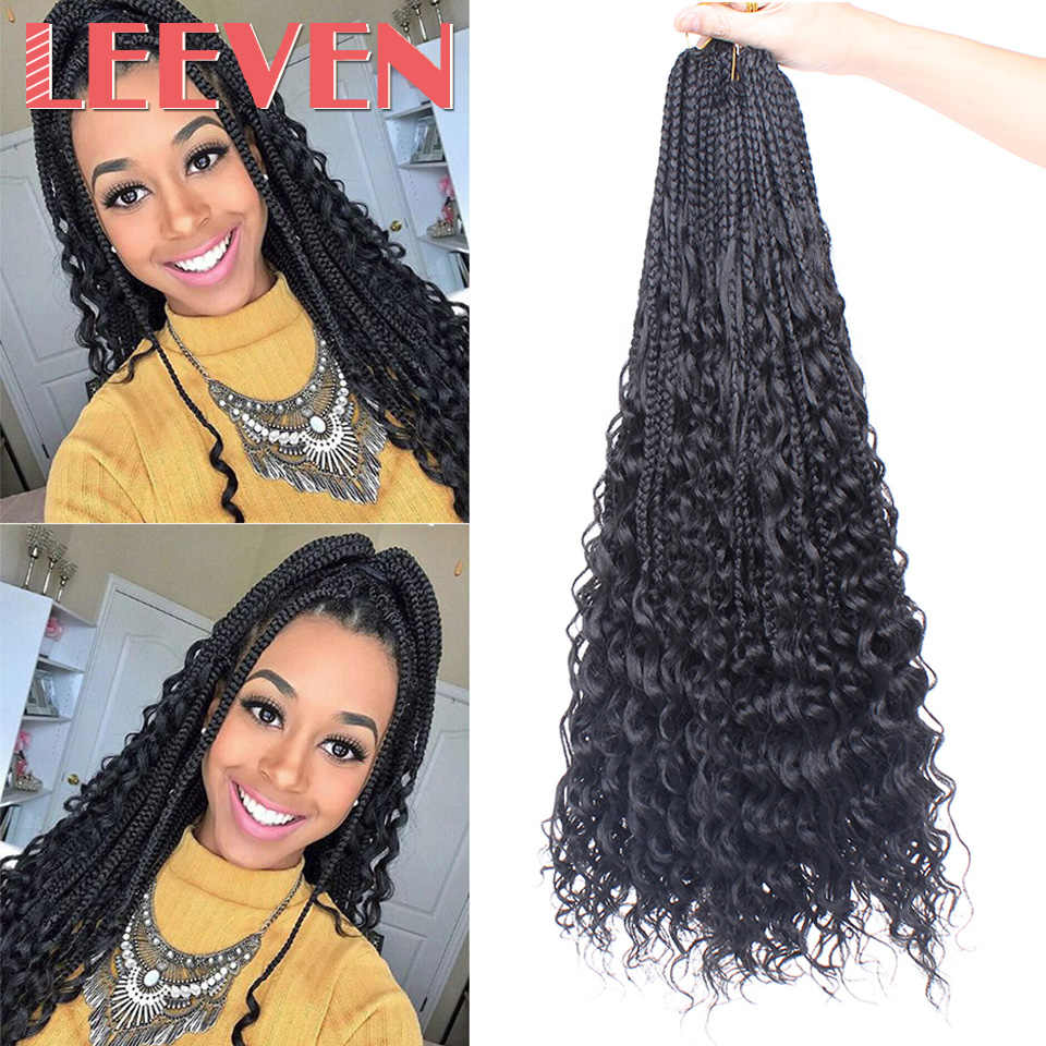 Leeven Bohemian Messy Box Braids With Curls End Black Ombre Brown Synthetic Crochet Hair Boho Braided Hair Extensions For Woman
