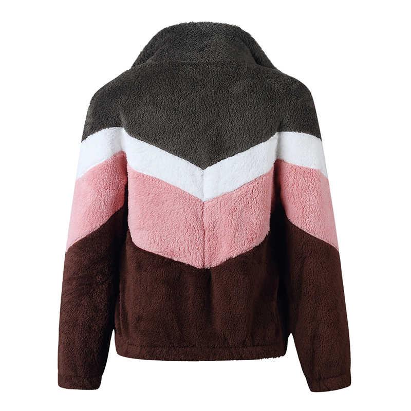 Ciepła zimowa jesienna kurtka damska bluza z polaru Zip-up miękkie grube nowe z długim rękawem pluszowe Teddy kurtki z kapturem płaszcze z patchworku GV875