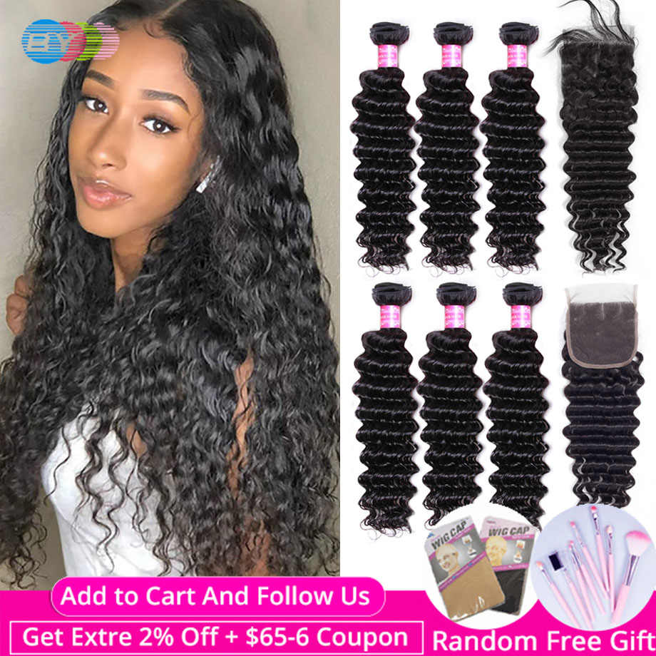 Deep Wave Bundles With Closure Brazilian 100% Human Remy BY Hair Extension Natural Color 3 Bundles Wiht Closure Free Shiping