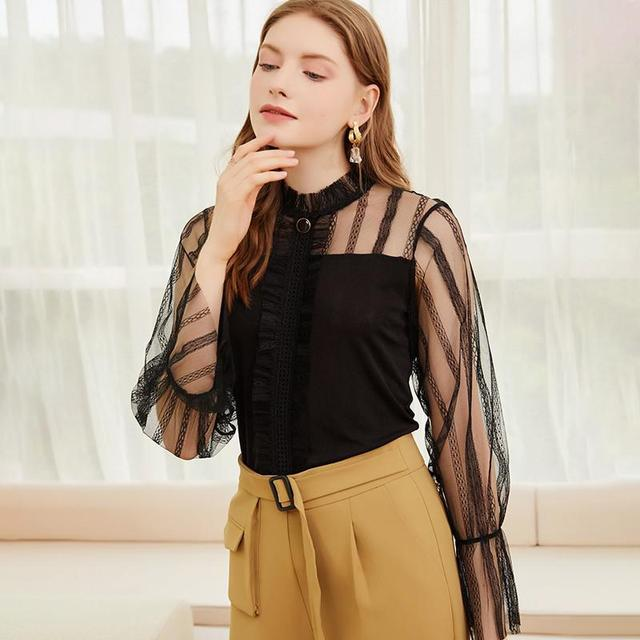 2021 spring and summer new comfortable temperament top type Pullover lotus sleeve women's Lace Sexy hollow out shirt 7