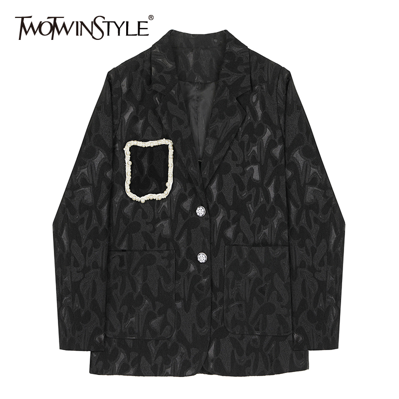 TWOTWINSTYLE Hip Hop Style Print Women Blazers Notched Long Sleeve Loose Patchwork Pearls Asymmetrical Suit Female Clothing Tide