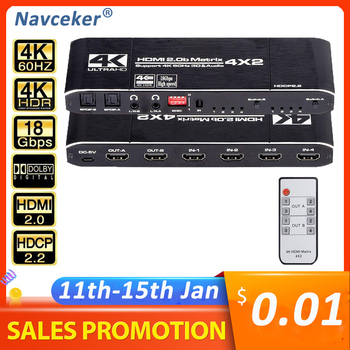 Navceker 18.5 Gbps HDMI Matrix 4x2 4K@60Hz HDMI Switch Splitter with SPDIF and L/R 3.5mm HDR HDMI Switch 4x2 Support HDCP 2.2 3D image