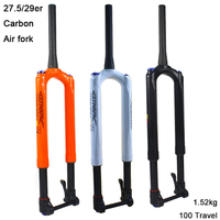 Bicycle Carbon Fork Mountain Bike Air Fork RS1 ACS Solo Air Predictive Steering Suspension Fork 27.5/29er MTB Bike Fork 100mm
