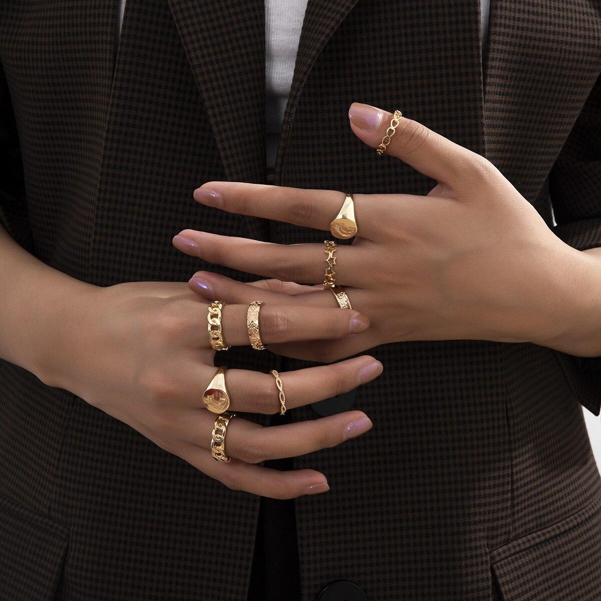 Europeu e americano moda jóias com liga lua oca combinação personalidade conjunto anel para presentes femininos atacado