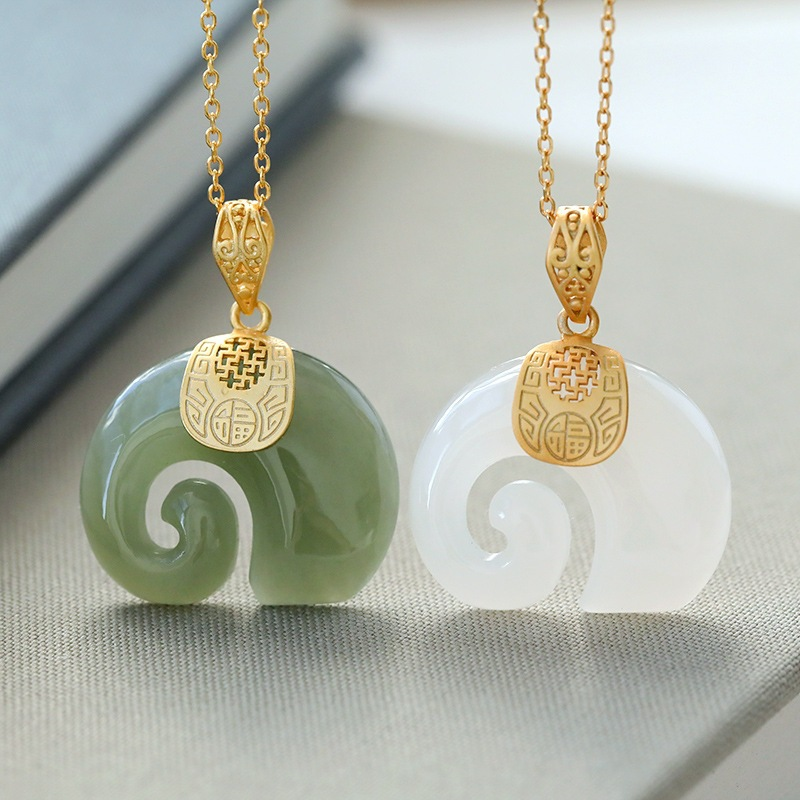 2021 Vintage White Hetian Jade Elephant Pendant 18K Gold Plated Chain Necklace Stainless Steel Sapphire Choker Jewelry for Women