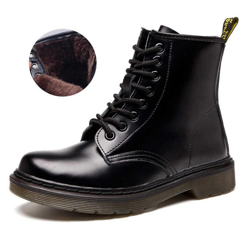 Giày Bốt Nữ Cổ Điển Da Thật Chính Hãng Da Giày Nữ Thu Đông Giày Da Punk Mắt Cá Chân Botas Mujer Bộ Lông Mùa Đông Chaussures Femme