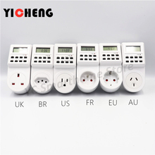 EU US UK small screen timer  timing switch socket electronic wall electric digital BR FR AU
