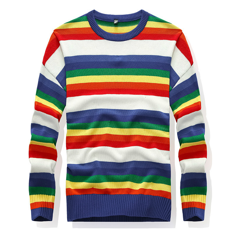 Rainbow Striped Men's Pullover O-Neck Sweater Knitted 100% Cotton Long Sleeve Warm Underwear 2019Autumn Fashion For Male Sweater