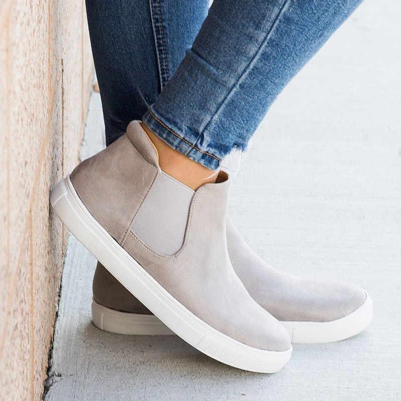 Botas de otoño para mujer, zapatos de lona informales, zapatillas planas para mujer, botas de leopardo, zapatos de plataforma para mujer, talla grande, 35- 43 WSH3408