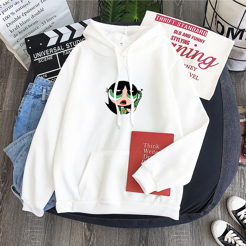 Kawaii Buttercup Blossom And Bubbles Hoodie Harajuku Women Hip-hop Ulzzang Korean Style Cartoon Print Girls Autumn Fashion Hoody