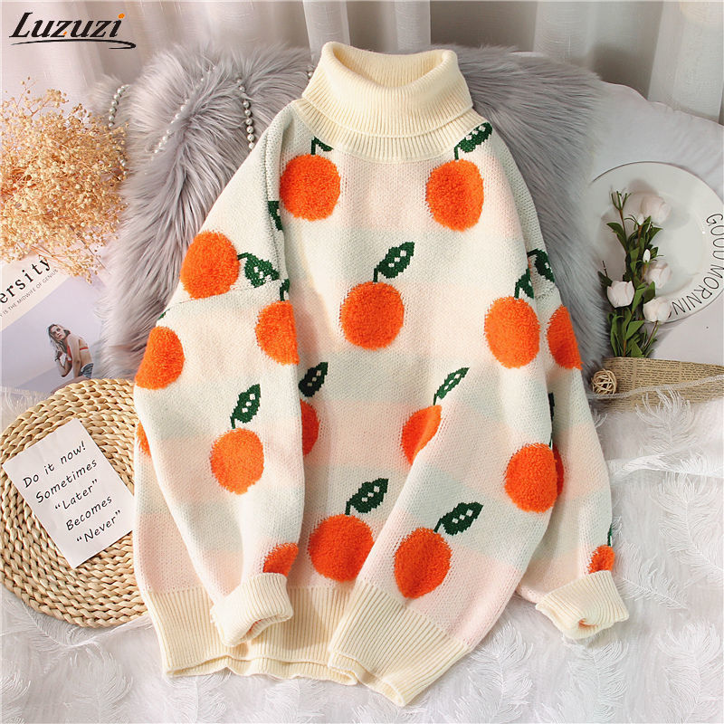 Luzuzi-suéteres de otoño e invierno para Mujer, jersey con patrón de naranja, suéter de manga larga, jerséis tejidos de cuello alto, suéter para Mujer 2021