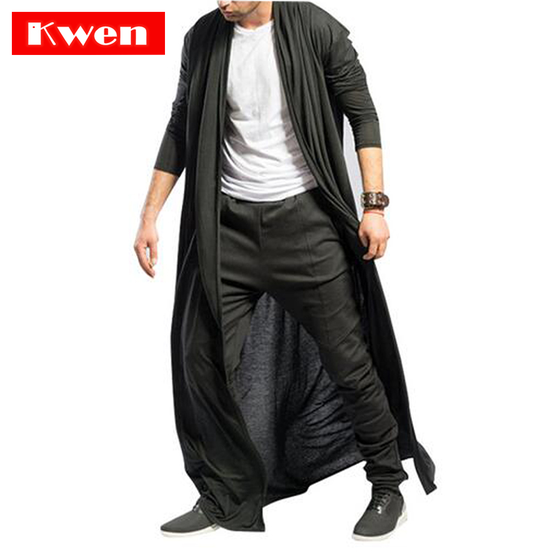 Spring autumn slim Long trench coat mens Solid color thin Casual Windbreaker New Male Cardigan outerwear Gothic men long jacket