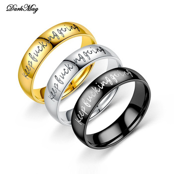 DarkMag Beatiful Personality Keep Going Black Ring 3 Colors Stainless Steel Ring Women Men Jewlry Unisex Love Ring anillos mujer image