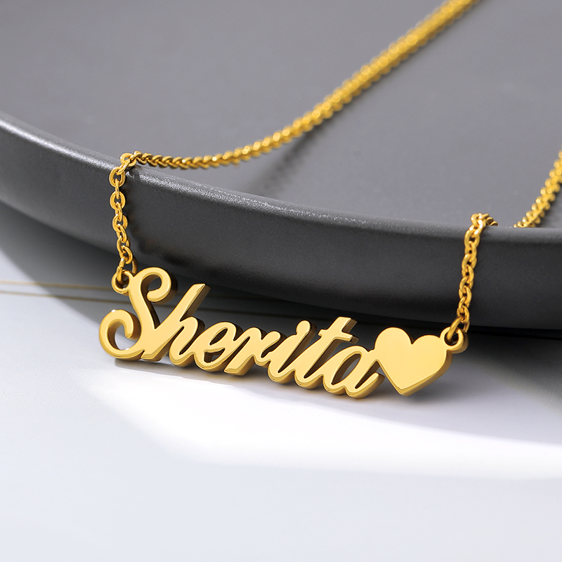 Custom Necklace Heart Pendant Stainless Steel Gold Chain Personalized Name Necklaces Choker Jewelry Necklaces For Women Dropship