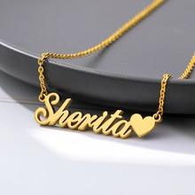Пользовательские ожерелье сердца кулон из нержавеющей стали золотая цепь персонализированные имя ожерелья колье ювелирные изделия для женщин челнока