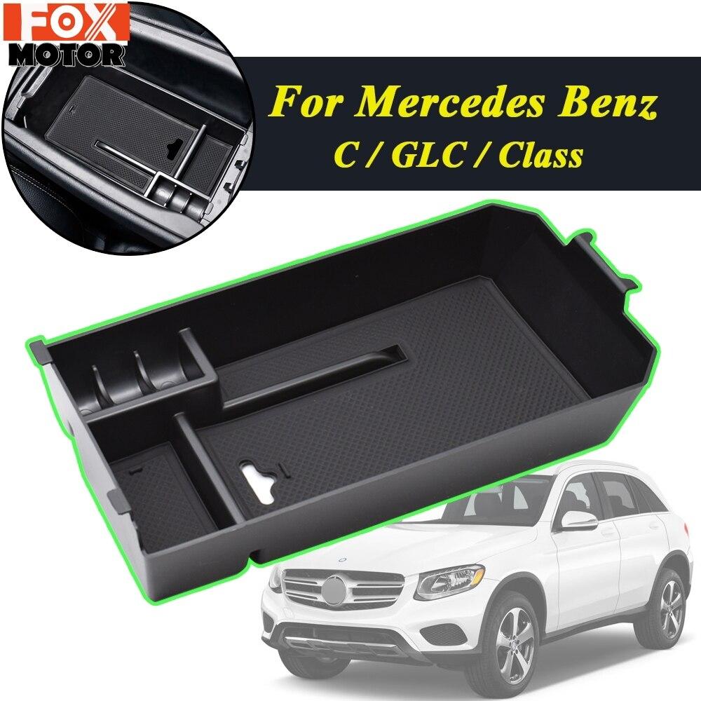 Para Mercedes Benz C GLC clase W205 C180 C200 C260 C300 GLC200 GLC260 GLC300 coche apoyabrazos de almacenamiento caja de la consola Central bandeja de madera